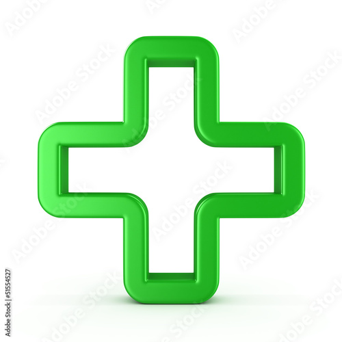 Sign a green cross , isolated on white