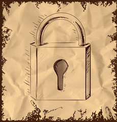 Lock icon isolated on vintage background