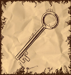 Old key icon on vintage background