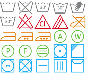 Set icon of washing signs