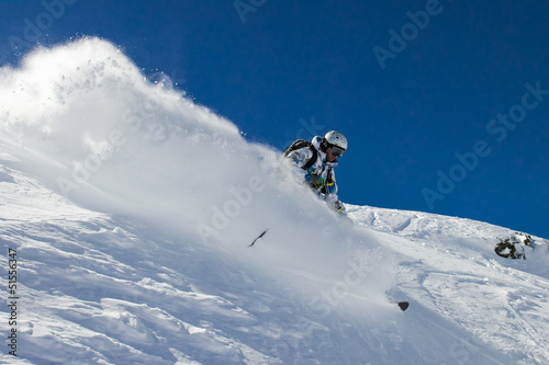 Skier in soft snow