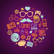 Vector round concept with trendy hipster icons