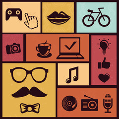 Vector set with trendy hipster icons