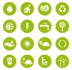 Set 1 icônes écologiques vintage