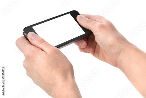 Smart phone in hand isolated