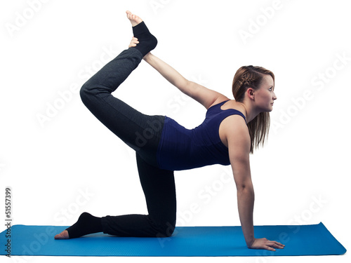 young woman yoga exercise the dancer - isolated