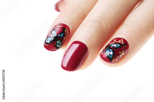 Nail art butterfly closeup