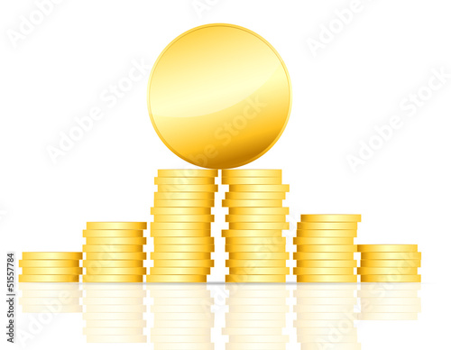 gold coin vector illustration on white