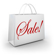 Sale Word White Shopping Bag Customer Store