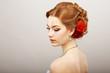 Bride. Golden Hair Female with Red Flower. Platinum Necklace