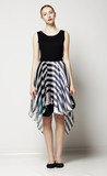 Modish Woman in Strippy Dress. Springtime Workday Collection