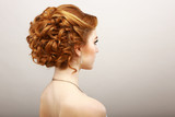 Fototapety Styling. Frizzy Red Hair Woman. Haircare Spa Salon Concept