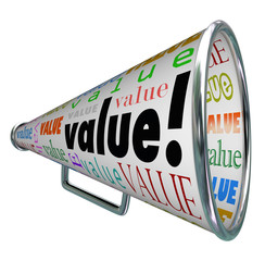 Value Megaphone Bullhorn Advertise Quality Valuable