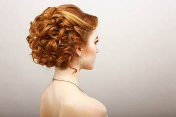 Styling. Frizzy Red Hair Woman. Haircare Spa Salon Concept