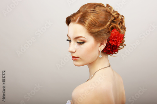 Bride. Golden Hair Female with Red Flower. Platinum Necklace