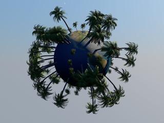 Mini planeta y palmeras