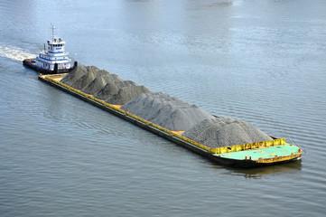Barge on Elizabeth River, Norfolk, Virginia, USA