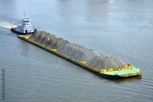 Barge on Elizabeth River, Norfolk, Virginia, USA