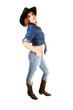 Girl standing as cowgirl.