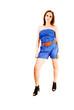 Girl in blue shorts.