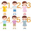 数字を持つ子供たち A child with a number