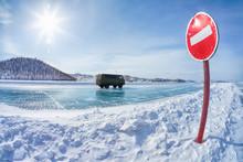 Traffic sign on Baikal ice