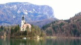 A church on island of lake Bled, Slovenia, Europe.
