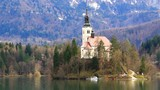 Lake Bled with island and church, Slovenia, Europe.