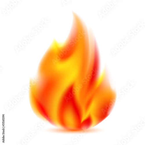 Fire, bright flame on light background