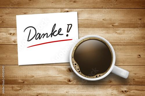 Kaffeetasse mit Danke