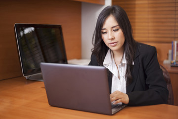 Pretty businesswoman working on a laptop