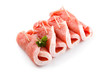 Fresh raw pork on white background