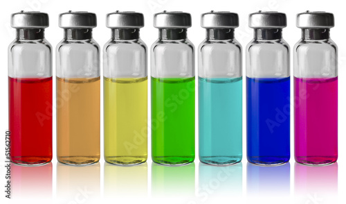 Medical vials in a row by color spectrum