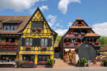 Dorf mit Fachwerkhäuser