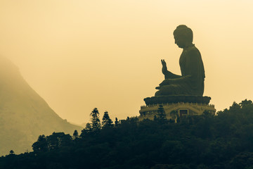 sunrise over Tian Tan Buddha