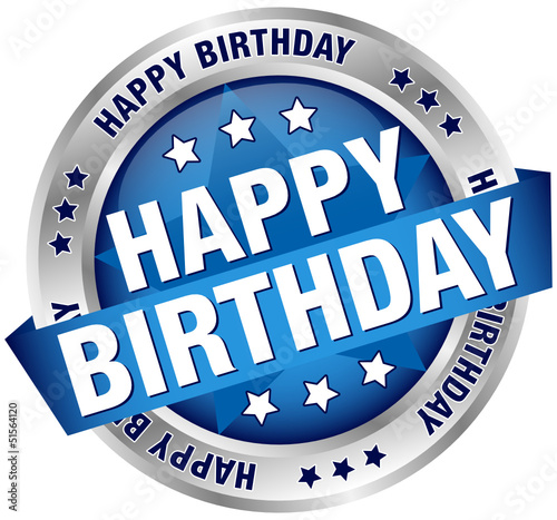 "Button Banner ""Happy Birthday"" Blue/Silver"