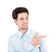 Handsome success man with pointing gesture