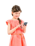 Smiling girl with mobile phone