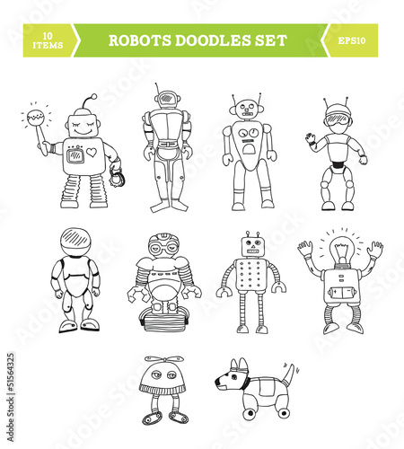 Simple robots doodles set