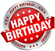 "Button Banner ""Happy Birthday"" Red/Silver"