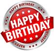 "Button Banner ""Happy Birthday"" Red/Silver"