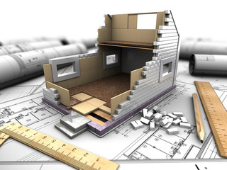 layout of house and blueprints