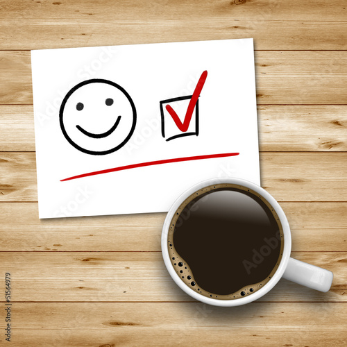 Kaffeetasse mit Smiley und Checkbox
