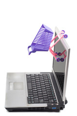 Laptop with a shopping-cart