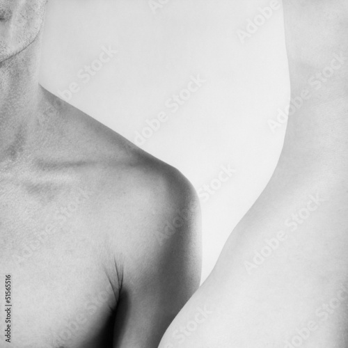 Beautiful sexy nude male and female body closeup black and white