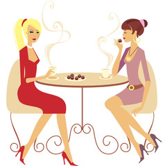 Two girls drinking coffee in cafe