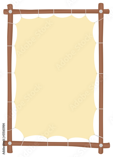 Wooden frame with a stretched yellow canvas and a place to put t