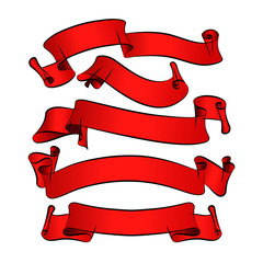 Red vector ribbons for your design projec