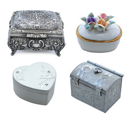 Metal and porcelain boxes isolated