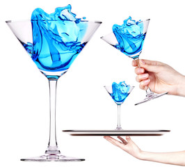 blue cocktail with splash set